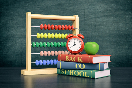 text books: front view of a vintage alarm clock, an abacus with text: back to school and a stack of books, chalkboard on background with empty space (3d render)