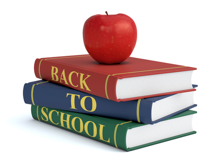 text books: three books with text: back to school and a red apple, white background (3d render)