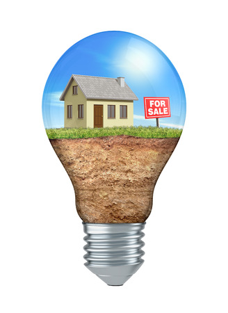 house for sale: light bulb with land, grass, a small house and signboard: for sale, white background (3d render) Stock Photo