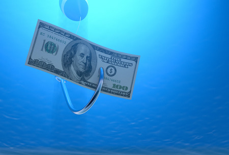 fishhook: bottom view of one fish-hook in the water with a banknote,concept of fraud (3d render) Stock Photo