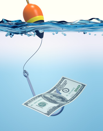 fishhook: front view of a fish-hook in the water with a banknote,concept of fraud (3d render) Stock Photo