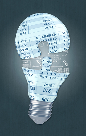 Light Bulb As Puzzle Shape With Financial Sheet, Dark Background ...