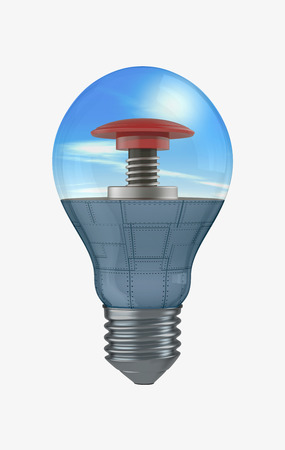 technology symbols metaphors: light bulb with a button, concept of start, white background (3d render) Stock Photo