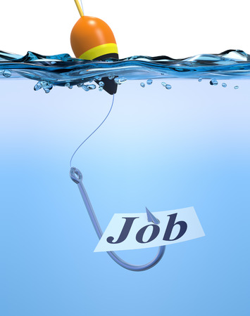 fishhook: one fish hook with a label and text: job. Concept of job offer (3d render)