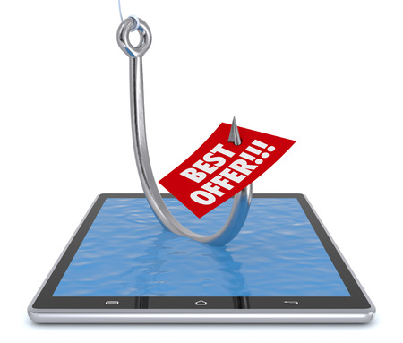 fishhook: one tablet pc with a fish-hook and a label with text: best offer. concept of online deal or fraud (3d render)