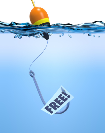 one fish hook with a label and text: free. concept of special offer or fraud. (3d render)