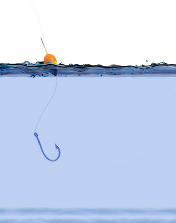 fish water: front view of a fish hook on the water (3d render) Stock Photo