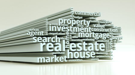 commercials: word cloud with terms about real estate (3d render) Stock Photo