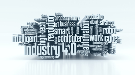 word cloud met termen over de industrie 4,0 (3d render)