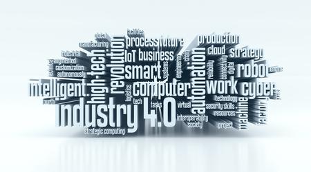 nube de palabras con términos de la industria 4.0 (3d)