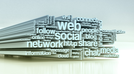 social web: word cloud with terms about social web (3d render)