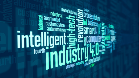 word cloud met termen over de industrie 4.0, vlakke stijl Stockfoto