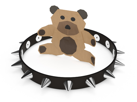 little bear made with paper, with a big studded collar, concept of using the wrong tool (3d render Stock Photo