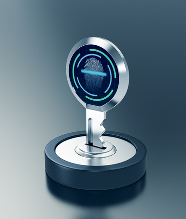 key with fingerprint reader, concept of cyber security (3d render)