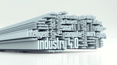 산업 4.0에 대한 용어와 단어 구름 (3d 렌더링)