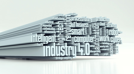 word cloud met termen over de industrie 4,0 (3d render)