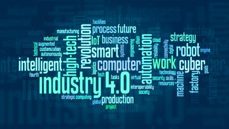 4.0 では、フラット スタイルの業界についての用語の単語の雲