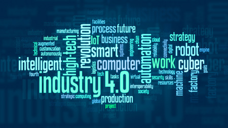 word cloud with terms about industry 4.0, flat style Banco de Imagens