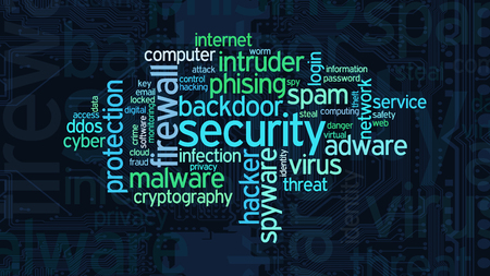 adware: word cloud with terms about computer security, flat style Stock Photo