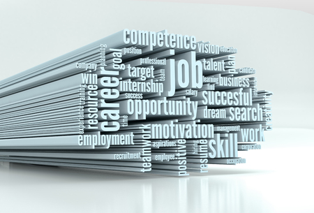 word cloud with terms about job and career (3d render) Stok Fotoğraf
