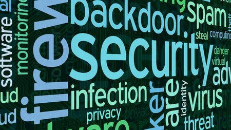 cloud computer: word cloud with terms about computer security, flat style Stock Photo
