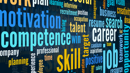 word cloud with terms about job and career, flat style Stock Photo
