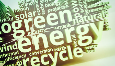 word cloud with terms about green energy (3d render) Stock Photo