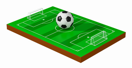 green fields: soccer field with a big ball, white background (3d render)