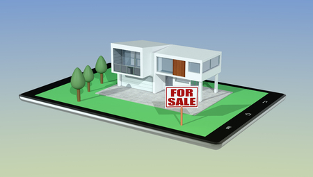 modern garden: modern house with a garden and a signboard with text: for sale, on a tablet pc, concept of real estate market online (3d render)