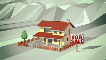 house for sale: house with a garden and a signboard with text: for sale, lowpoly background, concept of real estate market (3d render)