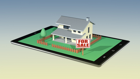 outdoor advertising construction: house with a garden and a signboard with text: for sale, on a tablet pc, concept of real estate market online (3d render)