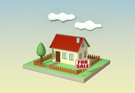 outdoor advertising construction: house with a garden and a signboard with text: for sale, sky background, concept of real estate market (3d render) Stock Photo