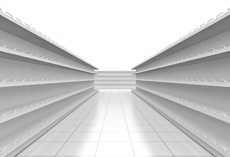one supermarket corridor with empty shelves on white background (3d render)