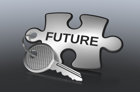 next year: one jigsaw puzzle with text: future, concept illustration (3d render)