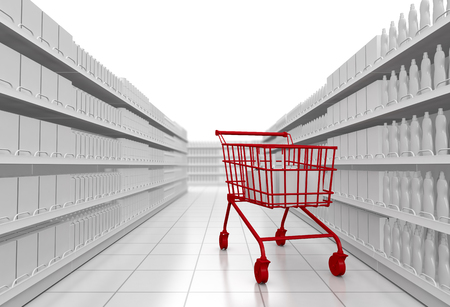 one supermarket corridor with shelves full of products, and a red shopping cart, white background (3d render)