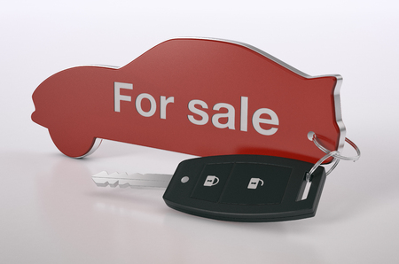 car shaped keyring with text: for sale,concept of car industry (3d render)