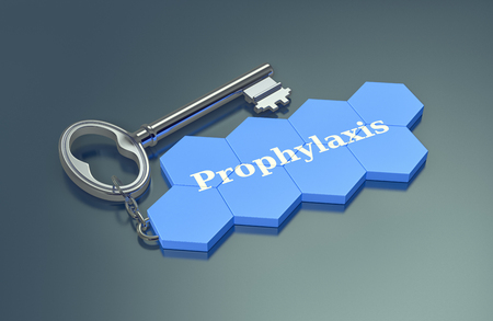 prophylaxis: hexagon strucuture shaped as a keyring with text: prophylaxis (3d render)