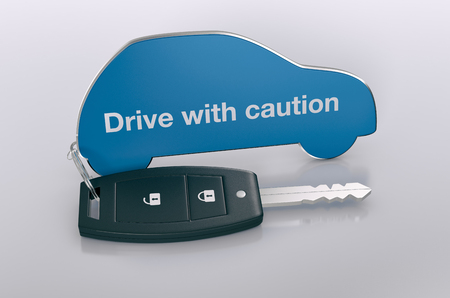 cautious: car shaped keyring, concept of  security (3d render)