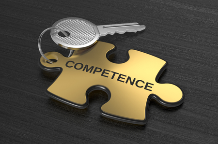 one jigsaw puzzle with text: competence, concept illustration (3d render)