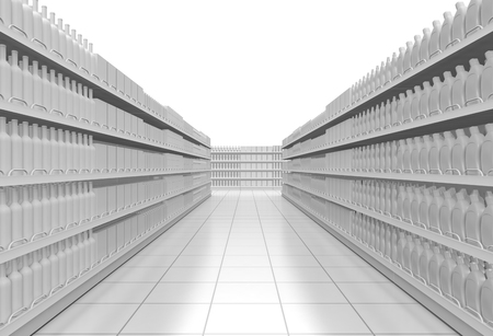 one supermarket corridor with shelves full of products, on white background (3d render)