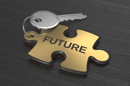 een puzzel met tekst: toekomst, concept illustratie (3d render)