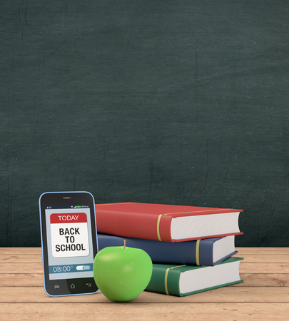 mobile phone with a reminder app, a stack of books and a green apple, chalkboard with empty space on background, concept of back to school (3d render) Stock Photo