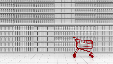one supermarket corridor with shelves full of products and a red shopping cart, white background (3d render) Stock Photo