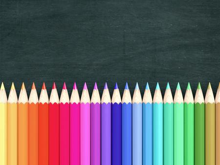 rij van kleurrijke potloden met een schoolbord op achtergrond, lege ruimte voor aangepaste tekst of afbeelding (3d render)