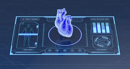 의료 및 과학 목적을위한 미래의 애플 리 케이 션 인터페이스 - 인간의 심장 스캐너 (3d 렌더링) 스톡 콘텐츠