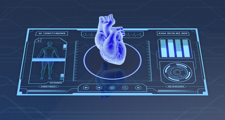 futuristic app interface for medical and scientific purpose - human heart scanner (3d render) Reklamní fotografie