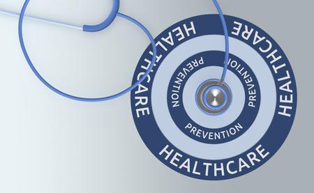 bovenaanzicht van een stethoscoop en een doelwit met tekst: gezondheidszorg en preventie (3d render)