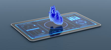 tablet pc with a futuristic app interface for medical and scientific purpose, human heart scanner (3d render) Stock Photo