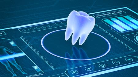 futuristic app interface for medical and scientific purpose - tooth scanner (3d render) 스톡 콘텐츠