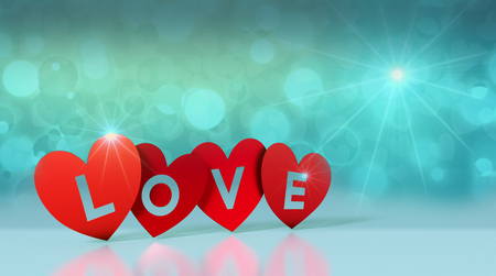 red paper hearts with text; love, on reflective floor and shiny background, valentines card (3d render) Stock Photo